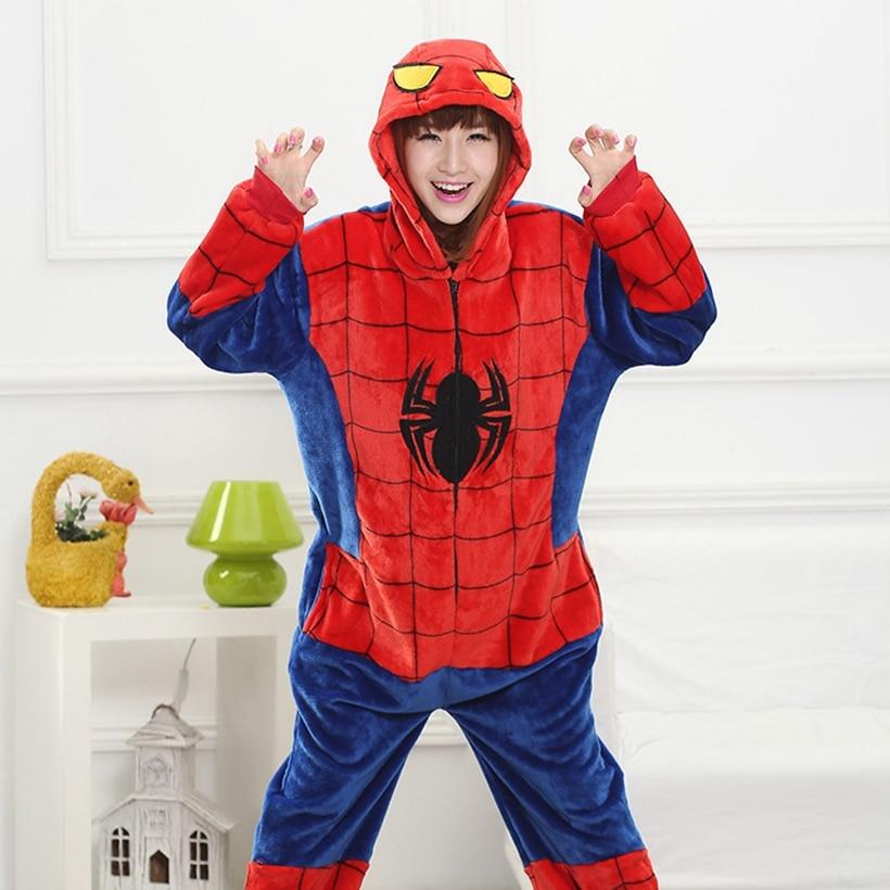 Мать Отец дочь мальчик Платья для женщин Семейные комплекты пижамы с капюшоном пижамы мультфильм животных красный паук Косплэй пижамы Pijamas