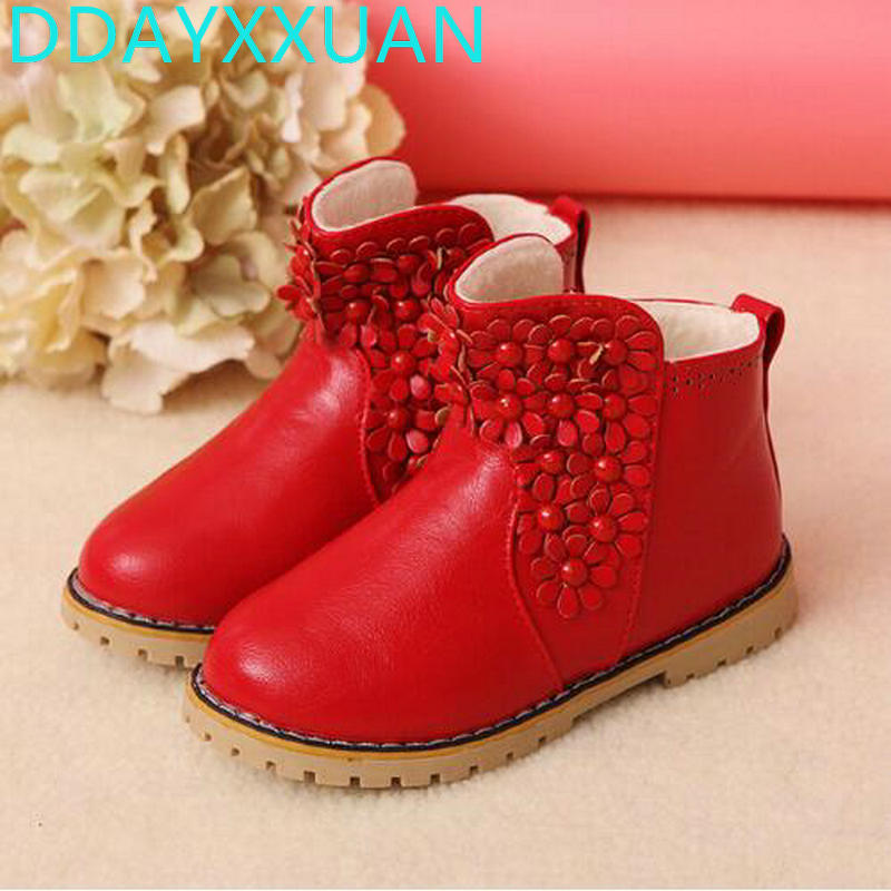 2018 new winter Korean girls sweet style flower casual cotton boots children keep warm shoes ladies fashion snow boots for kids