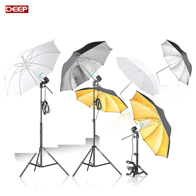 Genial Photo Studio Umbrella Continuous Lighting Kit Photography Mini Table Top  Umbrella Reflector 175W Lamp Light Stand