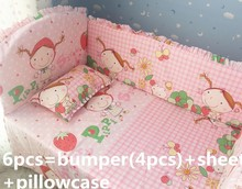 Promotion! 6PCS Strawberry girl Cute baby bedding set Cot set Embroidered Crib Bumper Sheet  (bumper+sheet+pillow cover)