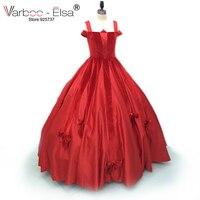 VARBOO_ELSA 2018 arabic Elegant Bow sleeveless women party gown Square Collar red Satin Ball Gown Vestidos Longos evening dress