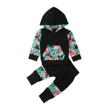 Newborn Baby Boys Girls Clothes Sets Floral Hoodie Hooded Tops T-shirt Pants Cotton Cute Sweatsuit Clothing Baby Girl 0-12M(China)