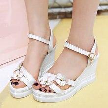 2017 Mujeres Del Verano Sandalias de Flores Elegante Tobillo-Wrap Zapatos de la Mujer Zapatos de Las Cuñas de Plataforma Hebilla de Correa de la PU de La Manera Concisa sandalias