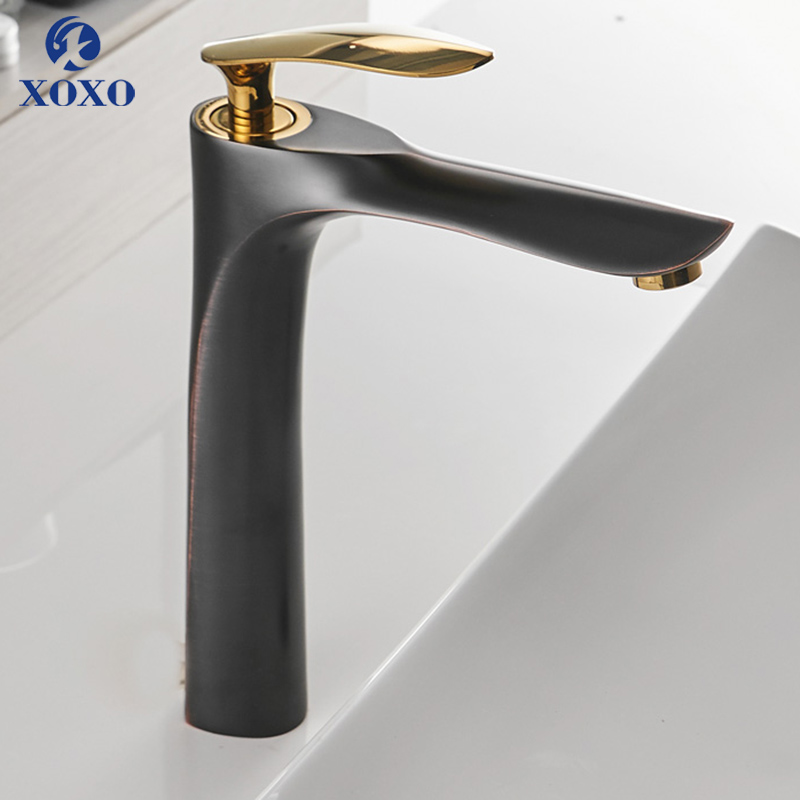XOXO Basin Faucets Single Hole Mixer Tap 360 Rotation Cold and Hot Gold Mixer Tap For