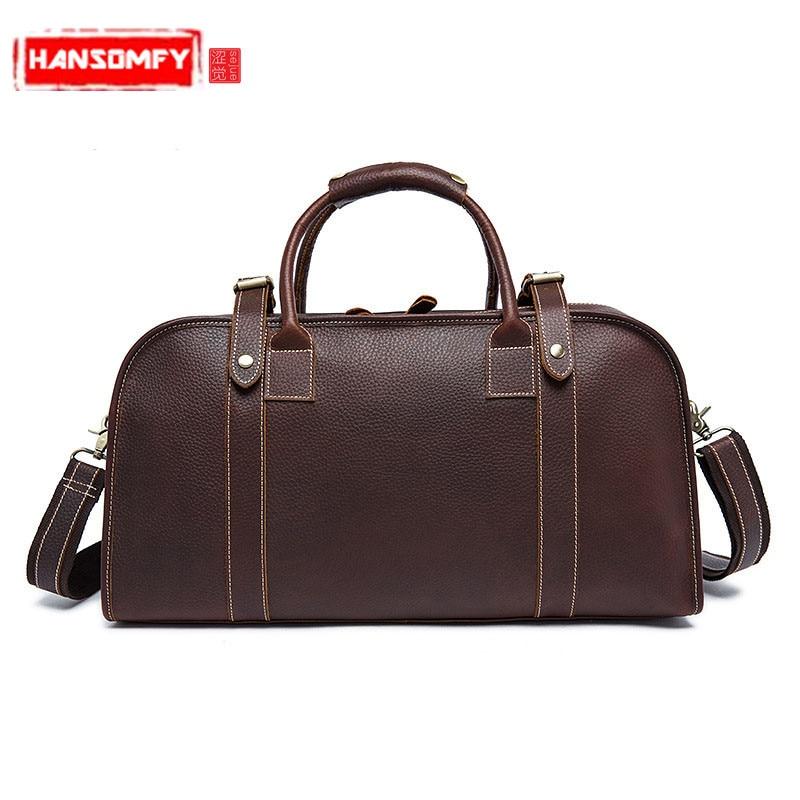 Men Handbags Retro mad horse leather travel bag men large capacity Genuine leather hand luggage bag shoulder travel bag