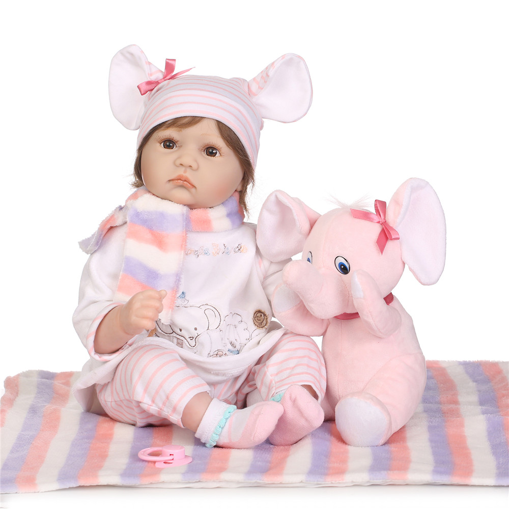 New NPK brand bebe doll reborn 2255cm silicone baby doll toys real alive girl with pink elephant bonecas reborn oyuncak bebekNew NPK brand bebe doll reborn 2255cm silicone baby doll toys real alive girl with pink elephant bonecas reborn oyuncak bebek