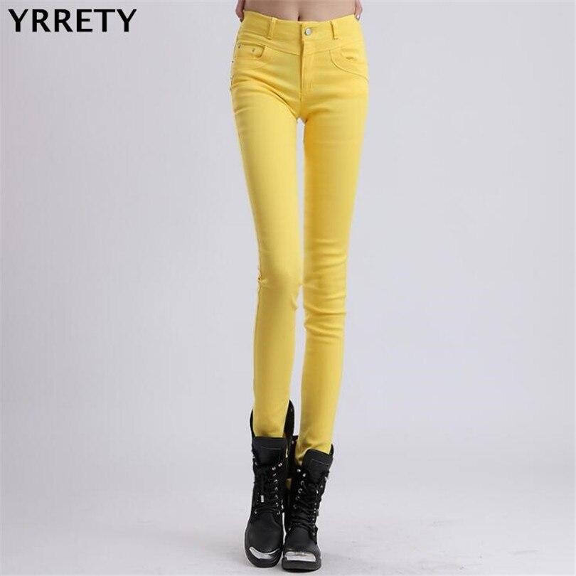 Yrrety Woman Jeans Solid Pencil Women Pants Girls Sweet Candy Color Slim Trousers Femme Pantalon Good Quality Women Leggings