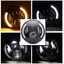 7Inch LED For AM General Hummer Car Angel Eyes DRL Running Lights headlight assembly turn signal LED for land rover Defender 90 цена