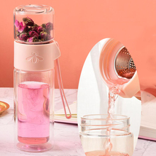 Office Business Glass Water Bottle Portable Double Wall Tea With Infuser Creative Transparent Gift