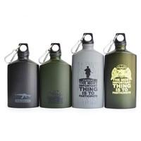 500ML/600ML Outdoor Sports Water Bottle Lightweight Aluminum Flask Leak proof Military Canteen Oval Kettle Loop Lid Narrow Mouth