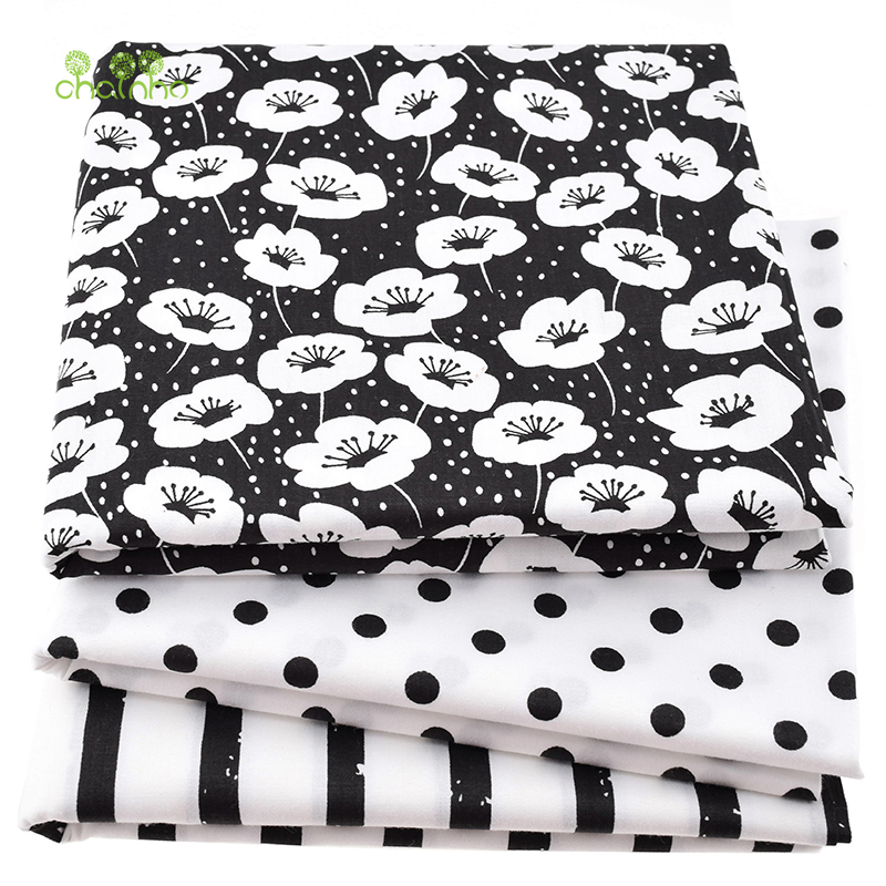 Printed <font><b>Twill</b></font> Cotton Fabric For Sewing Quilting Black&White Tissue Baby Bed Sheets Sleepwear Children Dress <font><b>Skirt</b></font> Material CC113 image