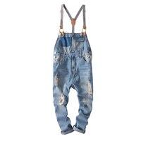 Fashion Mens Skinny Jean Overalls Men Casual Denim Jumpsuit Ripped Vintage Bib Pants Male suspenders jeans for Men