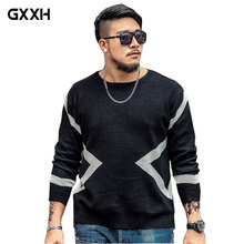 2017 GxxH brand Large size Casual Black Sweater Autumn and Winter Men's Round neck Loose color Mixed Printing Pullover Size 7XL