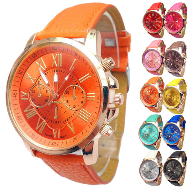 Women Quartz Wrist Watch Stylish Candy Color Numerals Faux Leather Analog Fancy Round Case Casual Clock Watches Wholesale 40A22