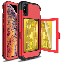 For iPhone Xs Max X 7 8 Plus Case Wallet Card Slot Holder Hidden Back Mirror Heavy Duty Full Body Protection Rugged Case Cover