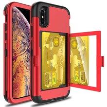 Para iPhone Xs Max X 7 8 Plus funda cartera ranura para tarjeta soporte oculto espejo trasero resistente protección de cuerpo completo