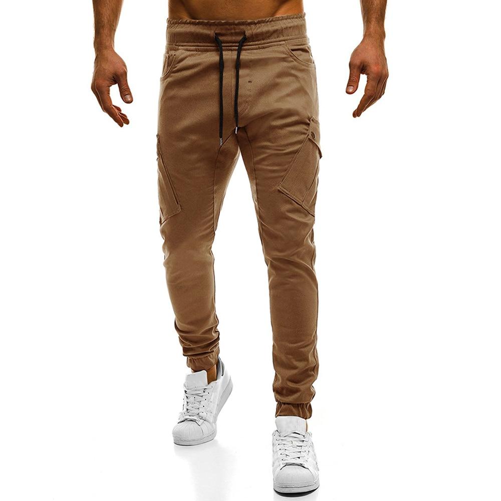 Pants Trousers Multi-Pockets Drawstring Streetwear Male Cotton Casual Mens Fashion 4XL