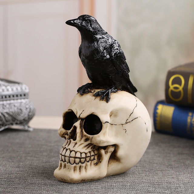 MRZOOT Resin Craft Statues For Decoration Skull Crow Skull Fashion Home Decor Creative Statue Personalized Ornaments