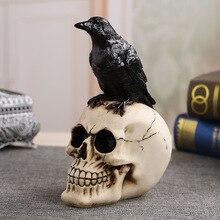 MRZOOT rzemiosło żywiczne posągi do dekoracji czaszka wrona czaszka moda Home Decor kreatywny posąg spersonalizowane ozdoby