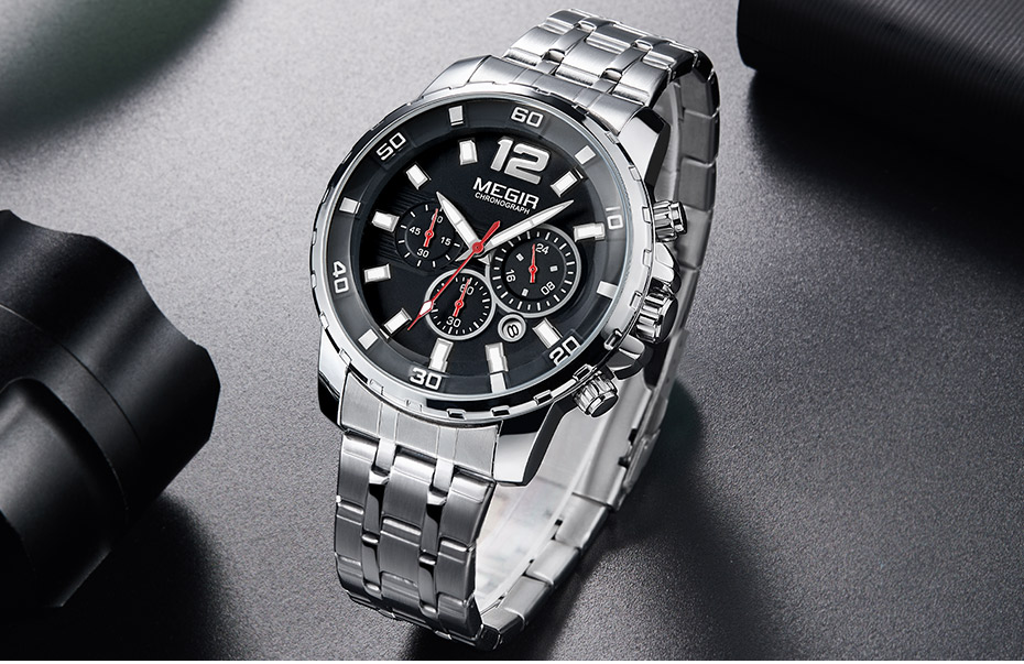Megir Men's Gold Stainless Steel Quartz Watches Business Chronograph Analgue Wristwatch for Man Waterproof Luminous 2068GGD-2N3
