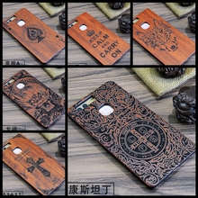 Luxury Bamboo Wood Phone Case For Huawei P9 plus P9 Lite G9 Cover Wooden Genuine PC Back Hard Protective Shell Constantine Totem