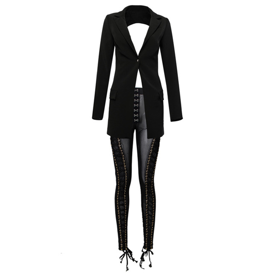 Cardi B  2 Piece Pants Set Outfit Lace Up Blazer Backless Tassel Eyelet Embellished Buckle V Neck Outwear Sexy Mesh Pants