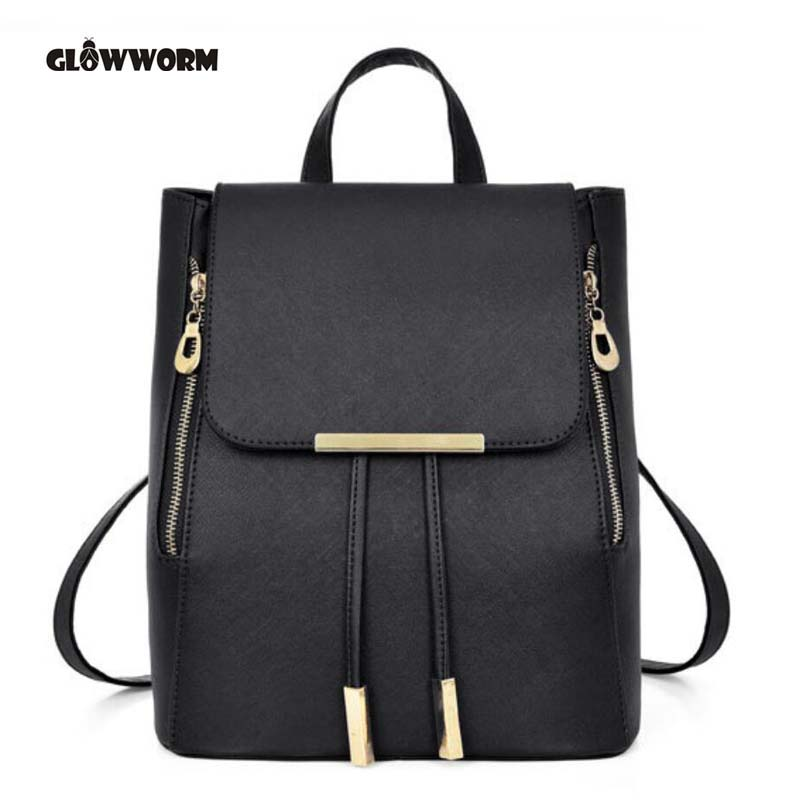 GLOWWORM Women Backpack High Quality PU Leather Mochila Escolar School Bags For Teenagers Girls Top-handle Backpacks GW096