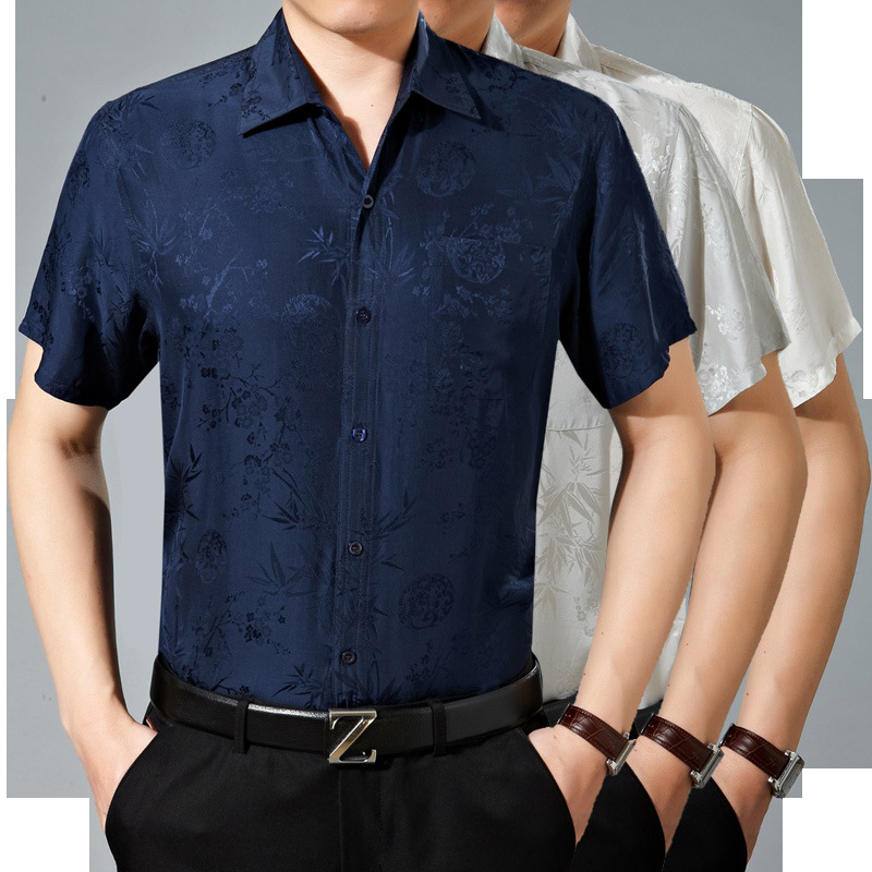 Summer Men's natural Silk Shirt Short Sleeved Casual Ironing Jacquard Silk Half Sleeved Men's Shirt Thin Section