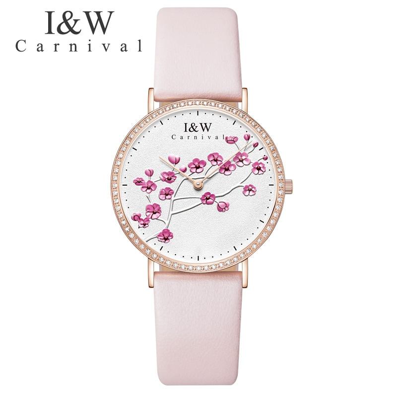 Carnival Brand I&W Fashion Women Watches Elegant Quartz Wristwatch for Woman Pink Leather Bracelet Ladies Watch Relogio Feminino