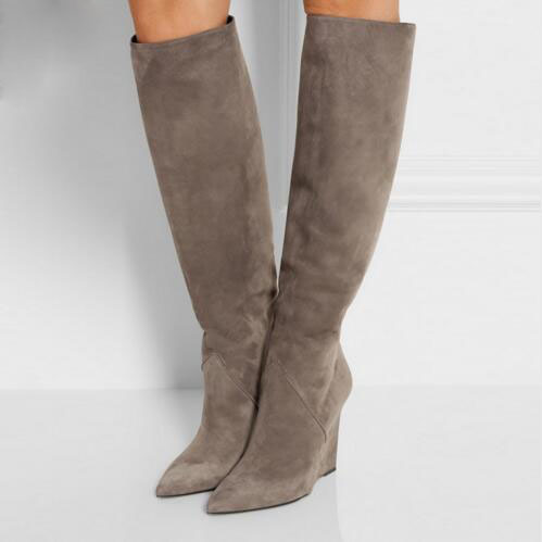 все цены на Fashion Botas Mujer Black Gray Suede Knee High Boots Pointed Toe Wedges Thigh High Boots Winter Style Women Tall Boots