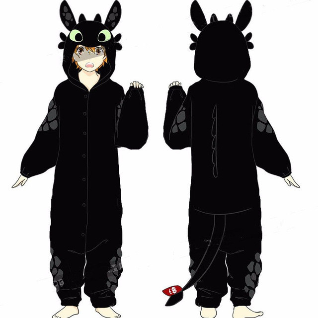Cartoon How To Train Your Dragon Night Fury Toothless Cosplay Costumes Flannel Pajamas Kids Adult Sleepwear Bathrobe Jumpsuits