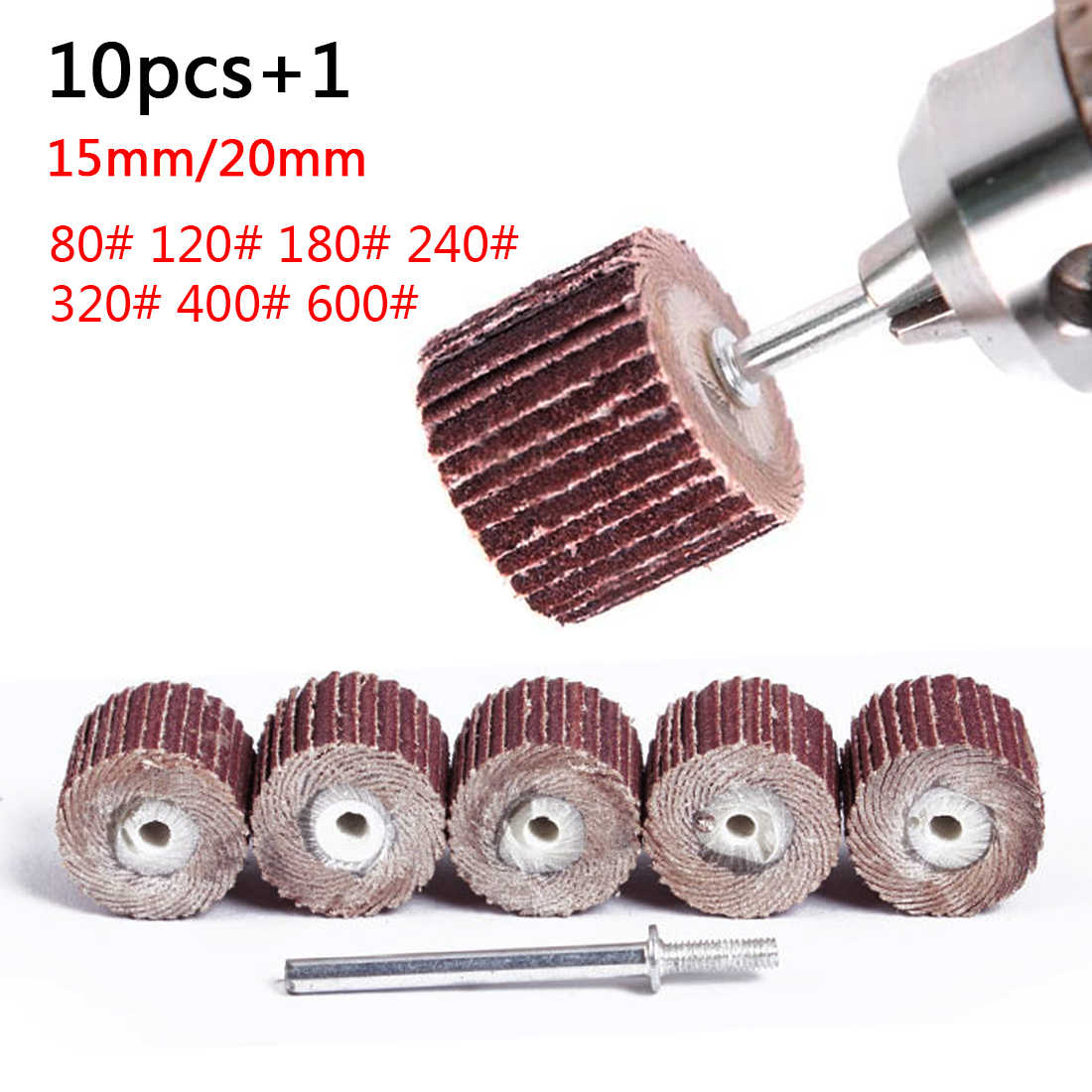 Accesorios Dremel, ruedas para lija, discos de lijado, obturador, herramienta rotativa, 10 Uds. 10-12mm