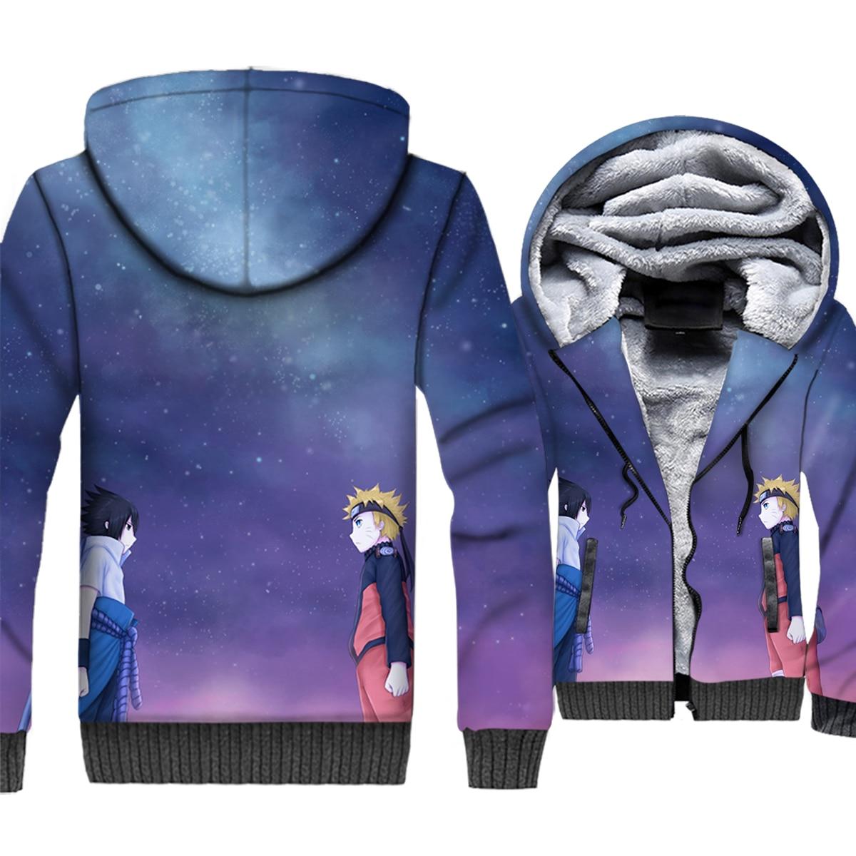 Uzumaki Naruto & Uchiha Sasuke Anime 3D Hoodies 2019 Winter Fashion Casual Sweatshirt Men Warm Jackets Harajuku Plus Size Coat