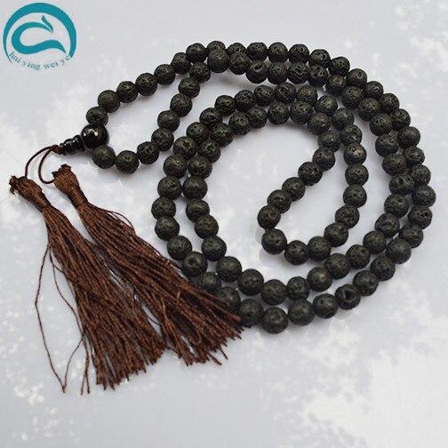 Perles uniques bijouterie classique 8mm noir volcan pierre lave Japa Mala Tibet bouddhiste 108 collier de perles de prière