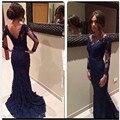 Africano azul royal prom dress 2016 sexy moda vestidos de formatura vestido de festa mulheres sereia vestidos de baile de manga longa