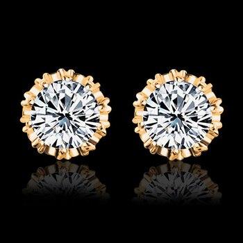 Hot Sale Gold Color Crystal Stud Earrings For Women Men Crown Zircon Inlayed Double Earrings Jewelry
