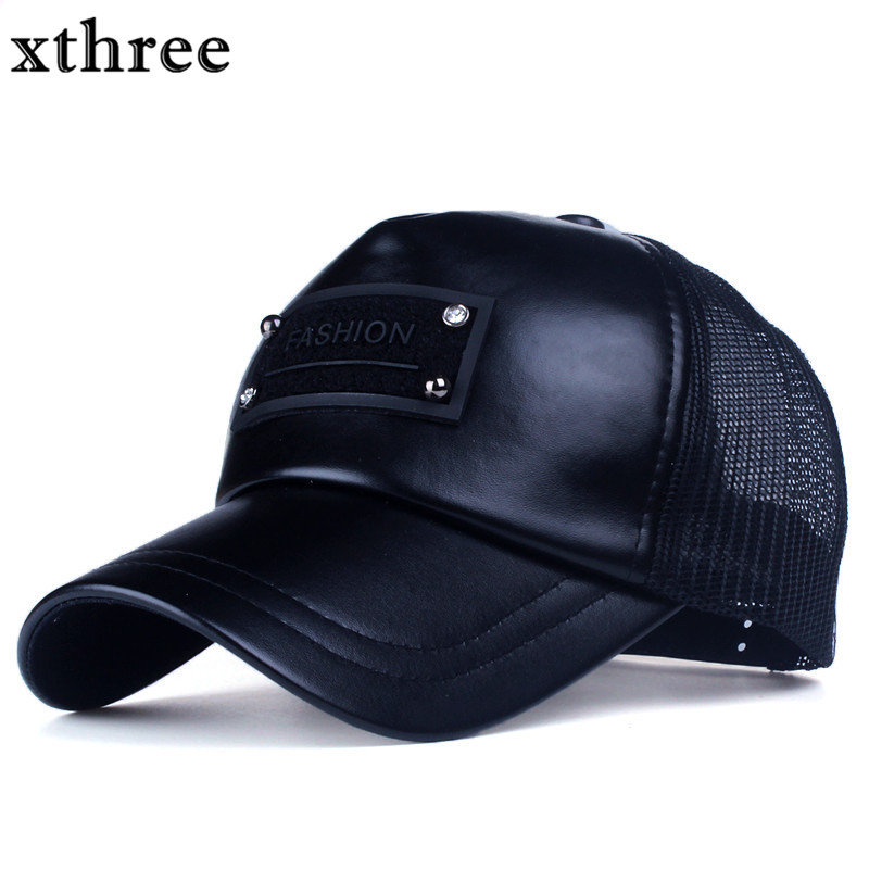 Xthree 5 panels fashion men  faux leather baseball cap women summer mesh cap snapback hat for girl bone gorras xthree faux leather baseball cap embroidery deer snapback hat hip hop casquette bone men hats for women