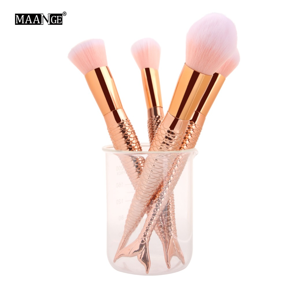 4pcs Mermaid Cosmetic Makeup Brushes Set Foundation Blush Blending Powder Contour Brush Facial Beauty Make Up Brush Tool Kits 2017 hot makeup brush set 10 pc makeup set kits brushes cosmetics brush tool professional beauty blush foundation blending