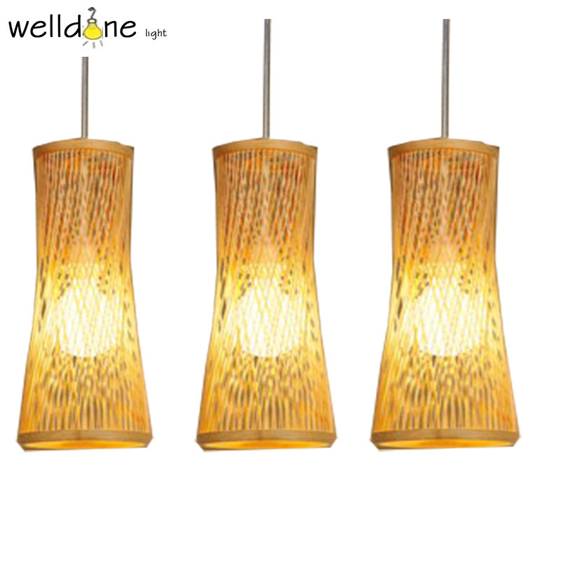 Chinese Style Bamboo Rattan Wicker Pendant Lamp for Restaurant Teahouse Home Decor Lighting rattan aisle study teahouse bamboo