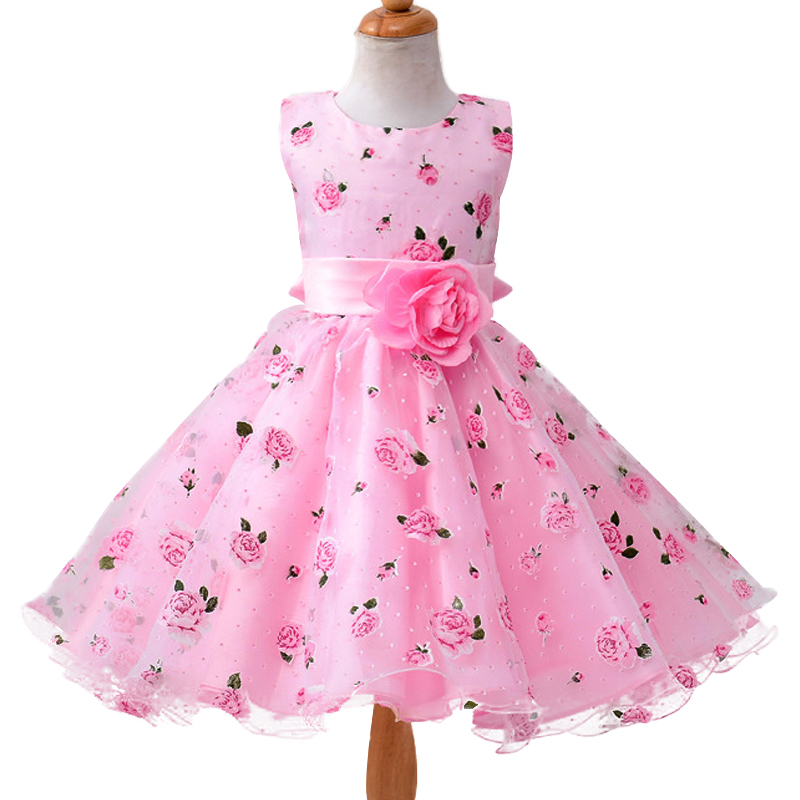 New summer baby girl Clothes print flower girl dress for wedding girls party dress with bow dress 2016 new style kids infant baby girl flower girl dress for wedding girls party dress with big bow lace dress for 3 8years