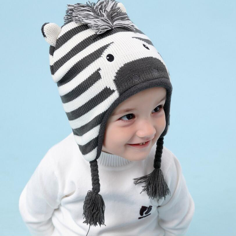 High Quality Warm Baby Winter Hat Boy Children Toddler Caps Ear Thicked Knitted Girl Hats Beanie Animal Zebra Cute Boys Cap 2017 new cute acrylic kid hats of unisex character pattern caps for children spring knitted warm cap with horn 170424 x124