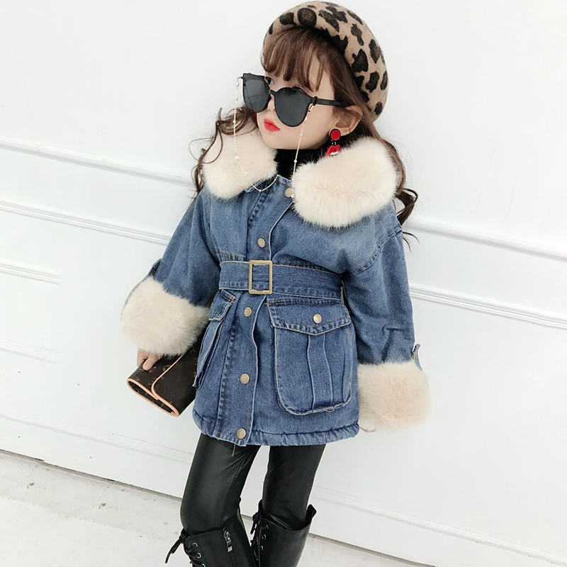 все цены на Fashion Girls Faux Fur Coat Kids Fur Jackets Girls Denim Coat Warm Parkas For Girls Winter Coat Thicken Children Snowsuits