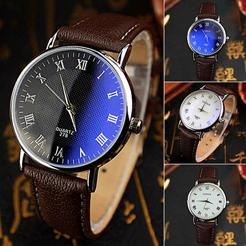 And Couple Watches Office Men's Women's Blue Light Glass Roman Numerals Analog Q