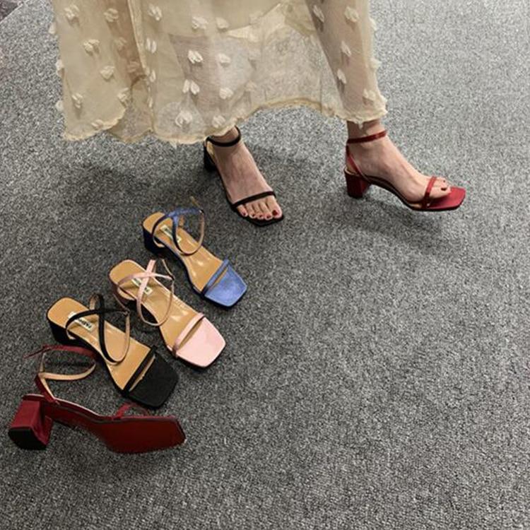 Female Sandal Ankle Strap Beige Heeled Sandals High Heels Comfort Shoes For Women 2019 Women's Open Toe All-Match Ladies Black