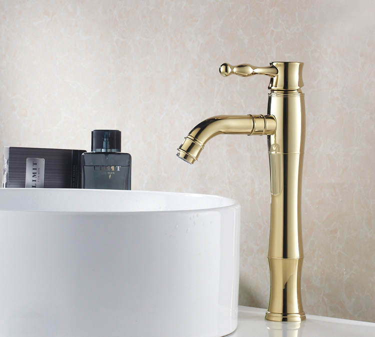 Vidric Bathroom Basin Sink Mixer Taps Deck Mounted Single Handle Hot And Cold Water Faucets Golden Brass TapVidric Bathroom Basin Sink Mixer Taps Deck Mounted Single Handle Hot And Cold Water Faucets Golden Brass Tap