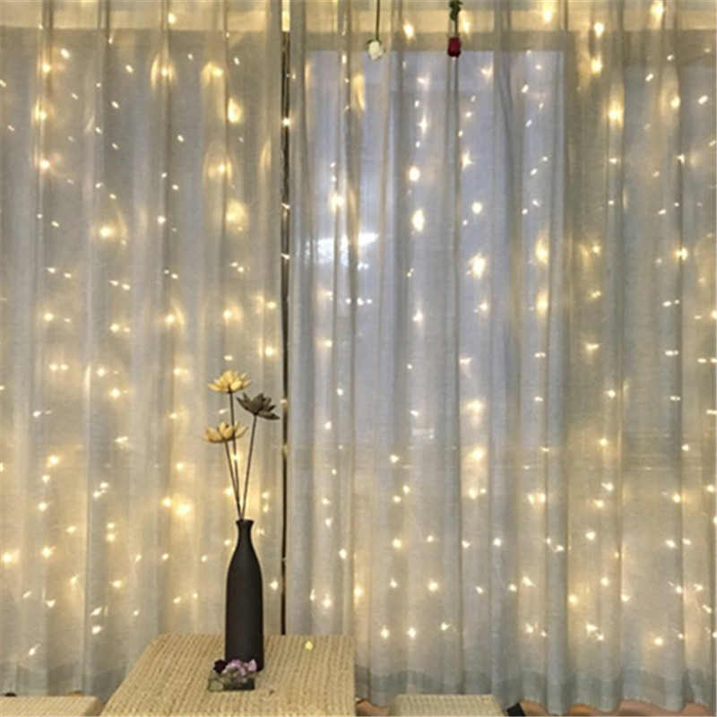 Fairy 6x3m LED Curtain String Light New Year Christmas garland Wedding Party lighting lamps luminaria chandelier garden decor fairy 4x0 65m led droop butterfly curtain light new year christmas garland string lighting wedding party lamps luminaria decor