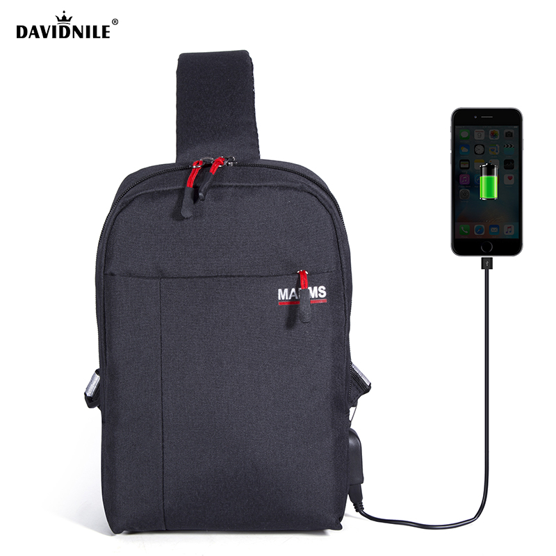 Davidnile Men black backpack for sport climbing large bag computer interlayer waterproof travel bags with USB charge