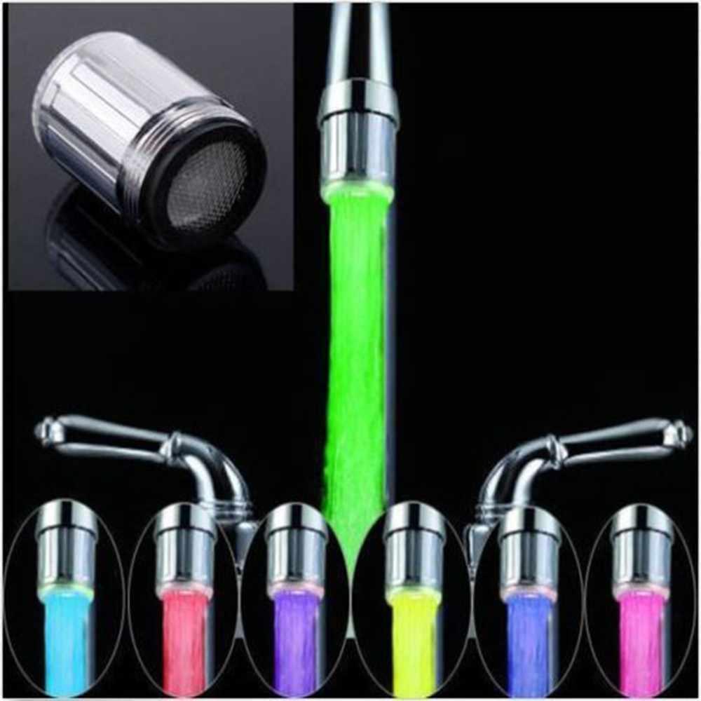 Desain Baru 7 Warna RGB Warna-warni LED Lampu Air Glow Faucet Keran Kepala Rumah Dekorasi Kamar Mandi Stainless Steel Air Keran