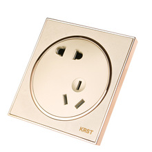 Wall Switch Socket, 86-Type High-End Home Decoration Round Extreme Gold Piano Paint, Oblique Five-Hole Socket Panel, 10A PC110-2