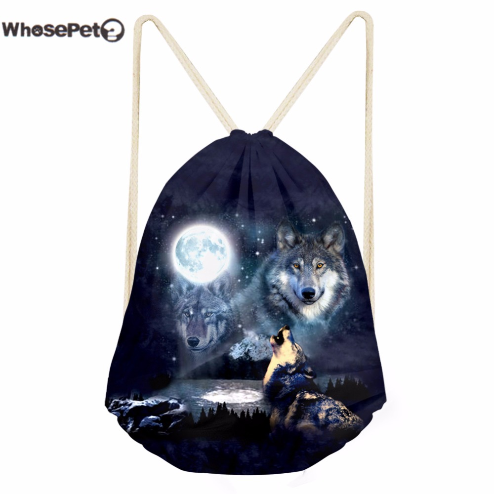 WhosePet Women Shoulde Backpack Female Small Draw String Bag 3D Wolf Printed Casual Back Pack Sackpacks for Teenagers Girls
